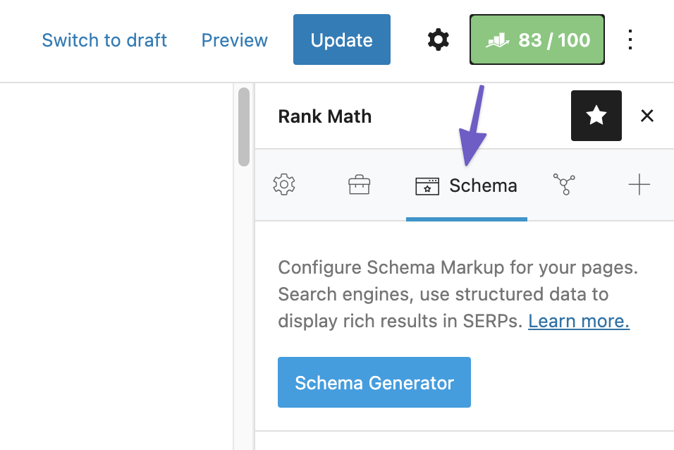 Rank Math's Schema tab标签